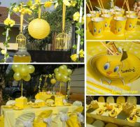 Tweety themed kiddies party and candy table by Co-Ords ...