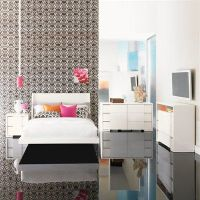 Contemporary bedroom set by Najarian Furniture stands out