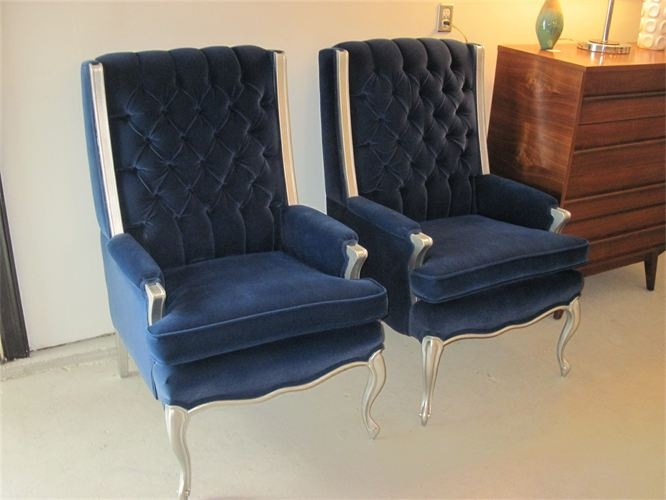 wood frame accent chairs reading chair vintage royal blue velvet tufted wingback given the marabelle make-over with silver legs ...