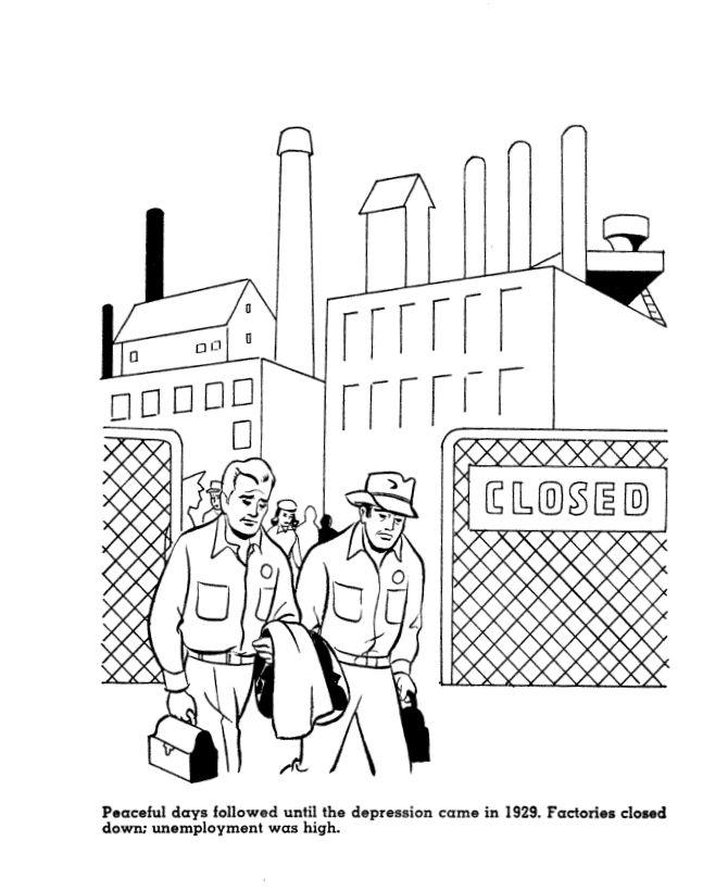 Great depression coloring page. To accompany the 1934
