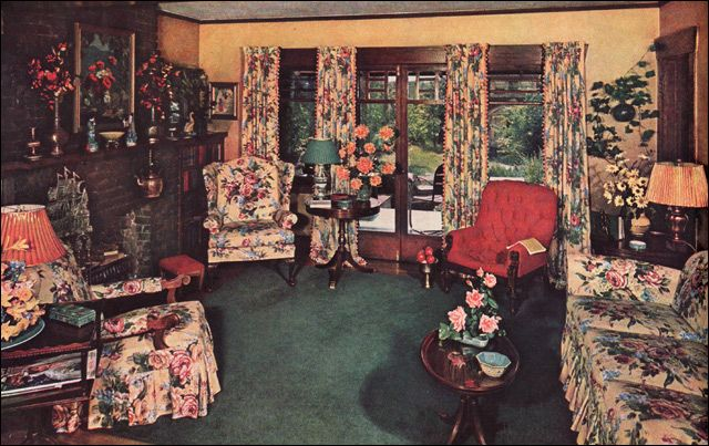 1940 Traditional Eclectic Living Room  1940 Colonial