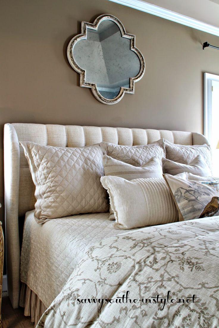 Neutral Bedroom Upholstered Headboard Tufted
