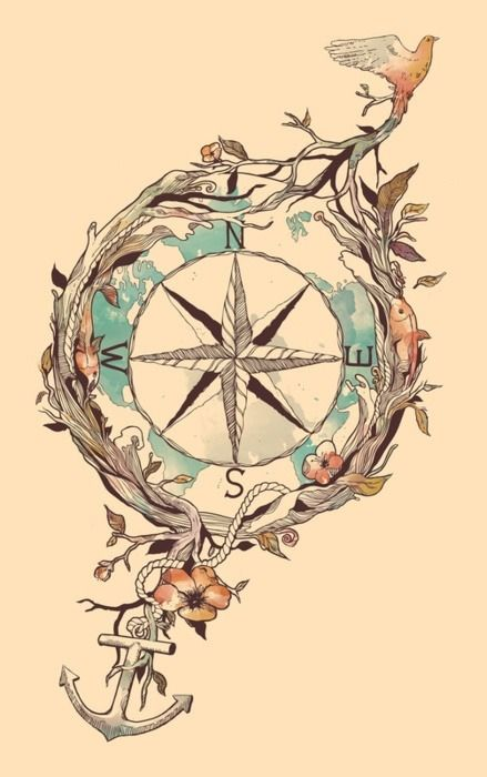 could be a cool watercolor tattoo, would remove the fishes, change the type of bird, and instead of an anchor, a musical note, and