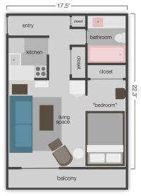 390 sq. ft. Studio Apt. Floor Plan | Studio Apartment ...