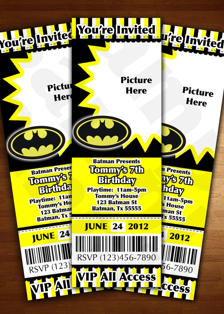 Batman Ticket Invitation Birthday Party Personalized