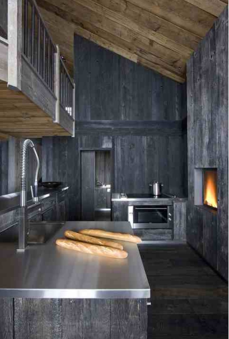 Grey stained timber modern rustic chalet kitchen