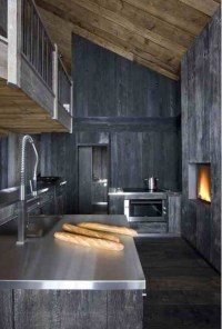Grey stained timber modern rustic chalet kitchen ...