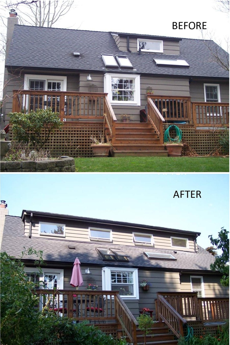 Before and after shot of a 30foot shed dormer addition we