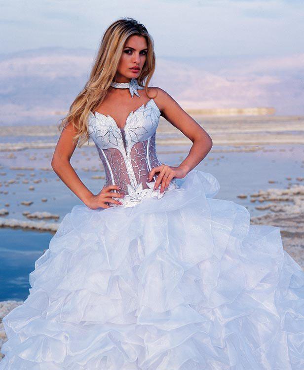 Strapless corset wedding dress with matching choker
