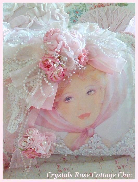 Shabby Pink Victorian Romance Boudoir Pillow