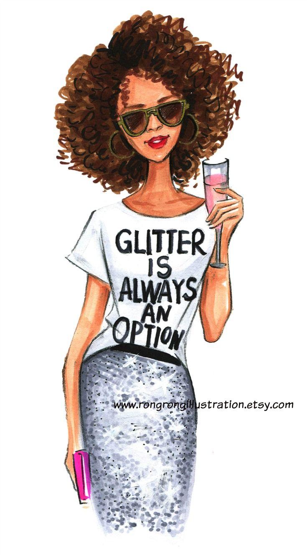 Fashion Illustration Print- Glitter always an option- Fashion wall art by Fashion Illustrator Rongrong
