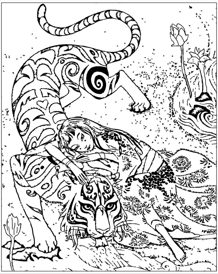 Free coloring page coloring-adult-inspired-by-book-tiger