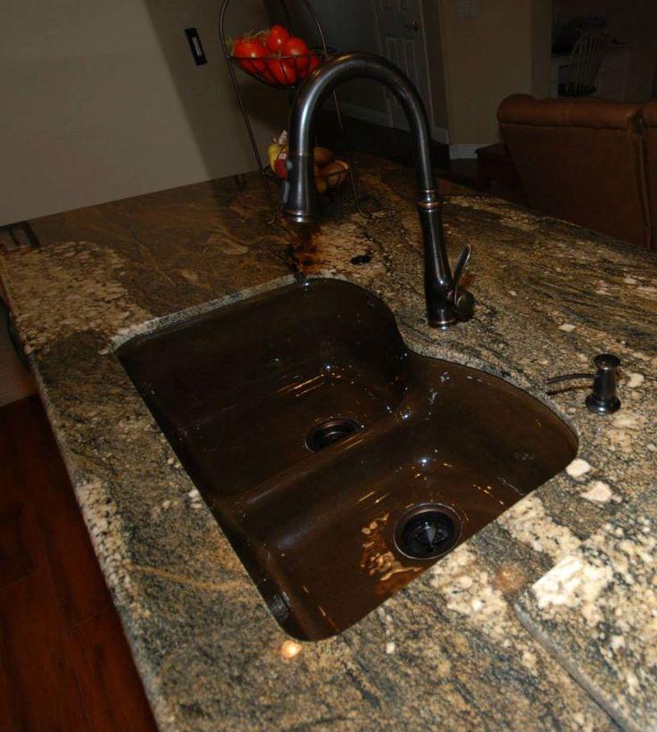 Kohler Langlade in black  tan in tiramisu granite with Kohler Bellera faucet in ORB  Sinks