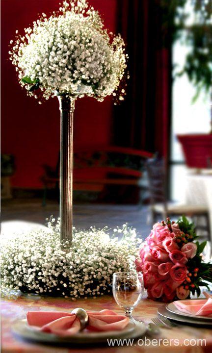 Two Tiered Babys Breath Tall reception wedding flowers wedding decor wedding flower