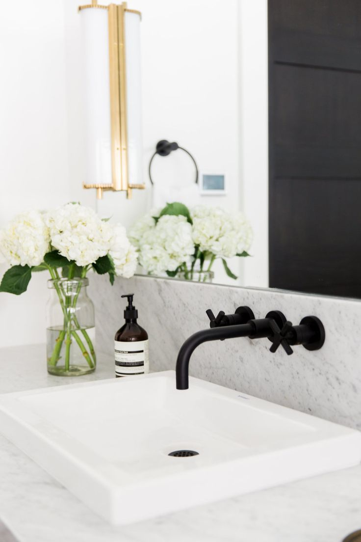Modern Mountain Home Tour  Wall mount Wall faucet and