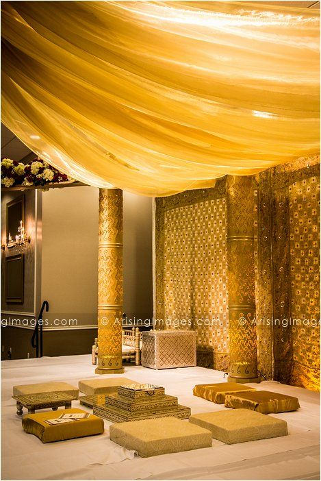 Gorgeous gold Indian wedding ceremony details