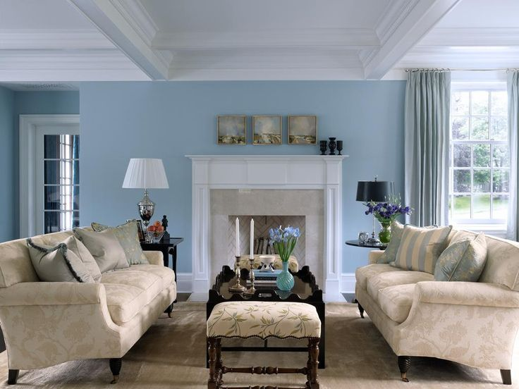 Sky Blue And White Scheme Color Ideas For Living Room