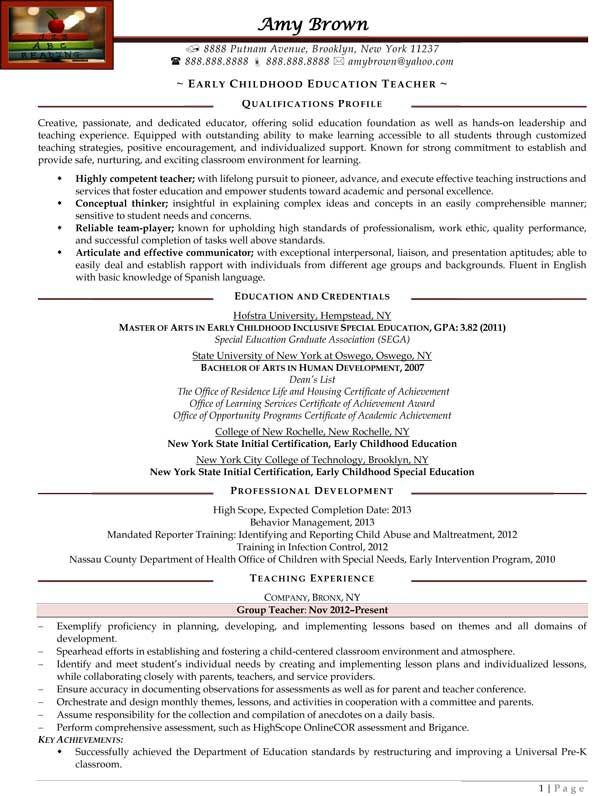 resume template examples of early childhood professional