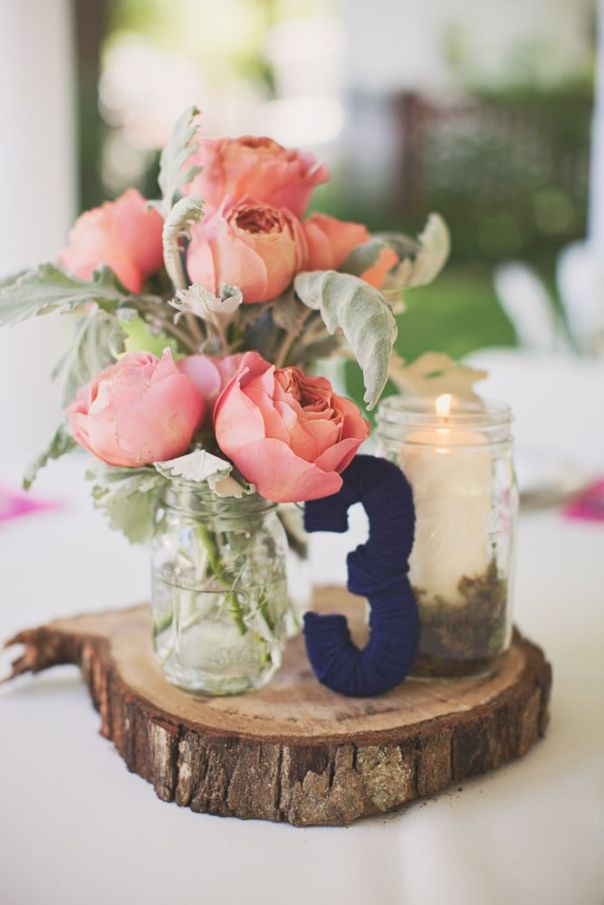 Vintage-Chic Centerpiece; super cute, but I'd change up the colors and the style of the number