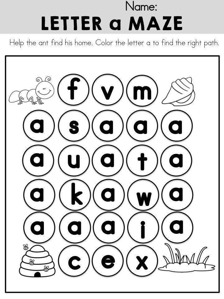 Lowercase Letter a Maze >> Part of the Alphabet Adventures
