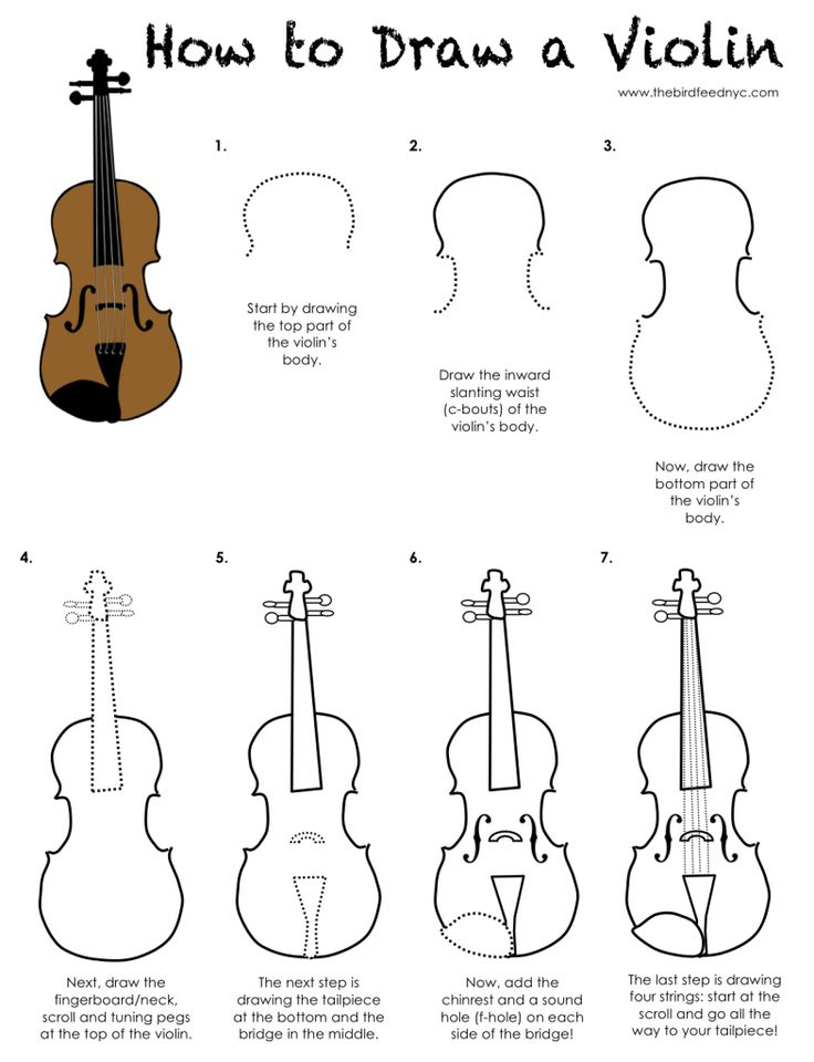 Printable Activity for Kids-How to Draw a Violin (The Bird