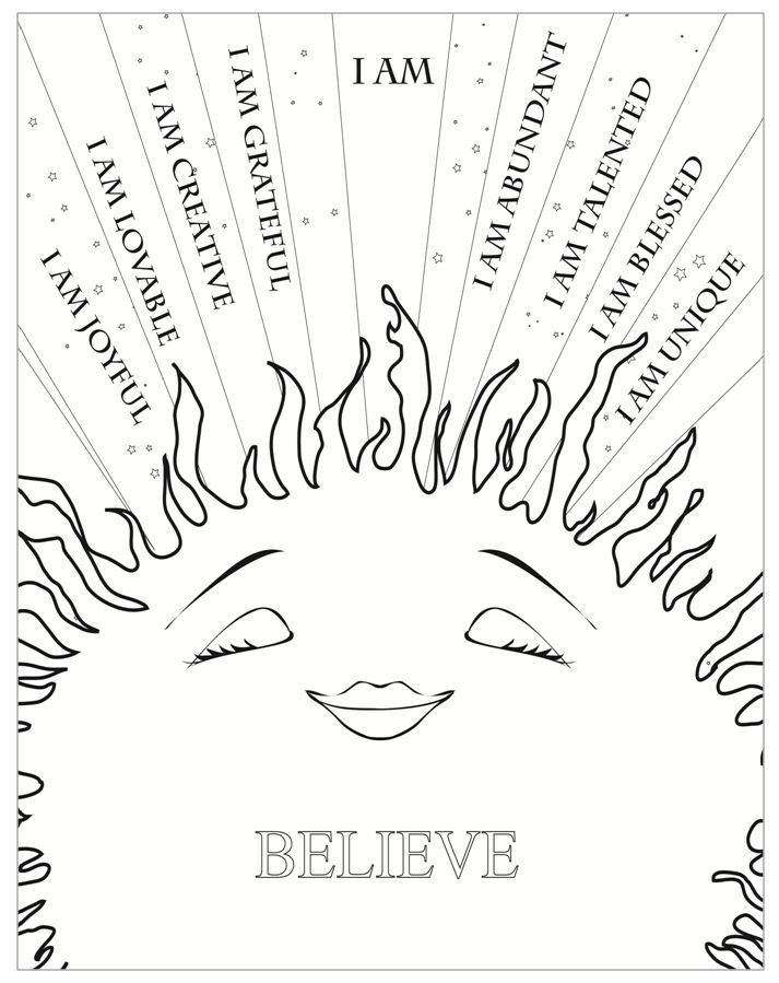 I am sunshine affirmations coloring sheet (click pic to