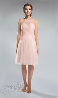 Blush Pink Lace and Tulle Strapless Boat Neck Bridesmaid ...