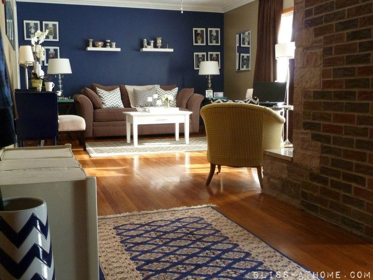 Navy Wall Is Painted In Valspar Signature Collection