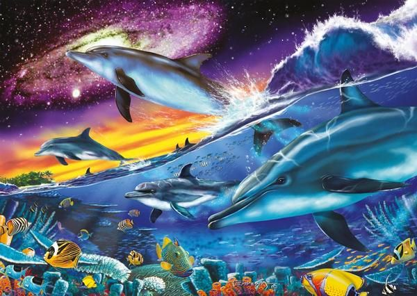 Cute Dolphin Drawing Wallpaper 1000 Piece Star Line Glow In The Dark Puzzles By