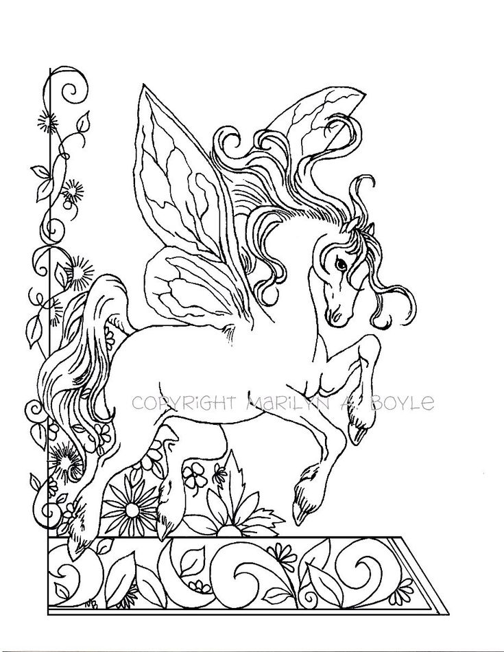 ADULT COLORING PAGE; fantasy, fairy horse, flowers, garden