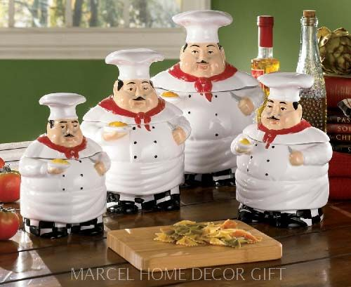 kitchen canisters ceramic island small italian chef decor items | canister set ...