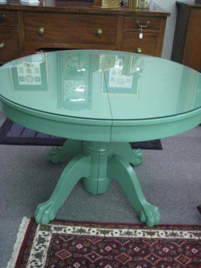 large round oak dining table 8 chairs bedroom chair set designs claw foot with green painted finish, 44