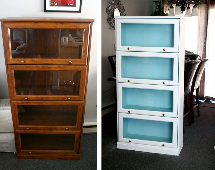 Beautiful painted barrister bookcase before  after From