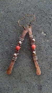 Handmade copper wire earrings ,Copper earrings,Wire ...