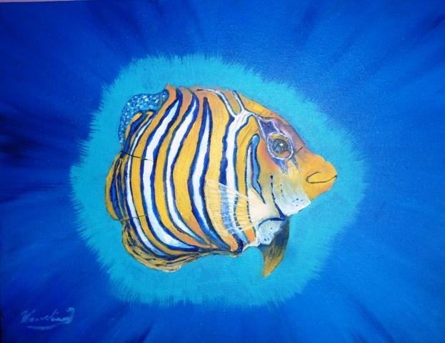 tropische vis Olie verf dun in de verf Kunstenaar johnny