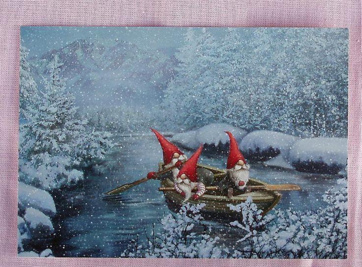 3 GNOMES IN A BOAT Sweden Tomte Nisse Art Pinterest