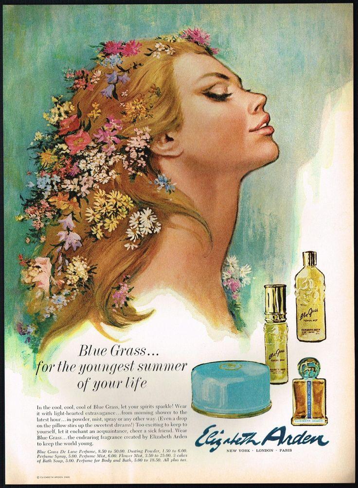 1960s Original Vintage ELIZABETH ARDEN Blue Grass Perfume