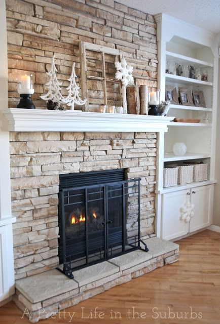 Stacked stone into built ins  Fireplace  Pinterest  Fireplaces Happy and Built ins
