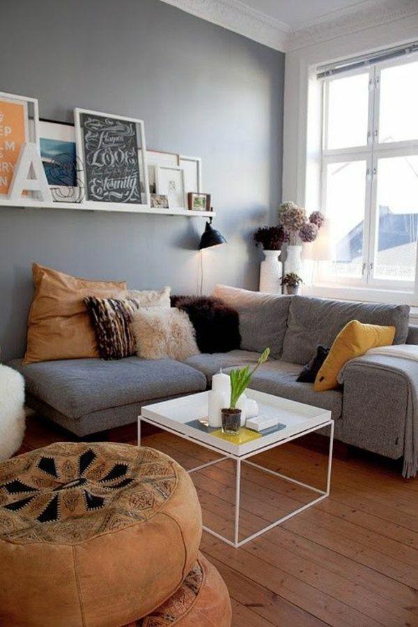 wohnideen wohnzimmer graues sofa - boisholz,