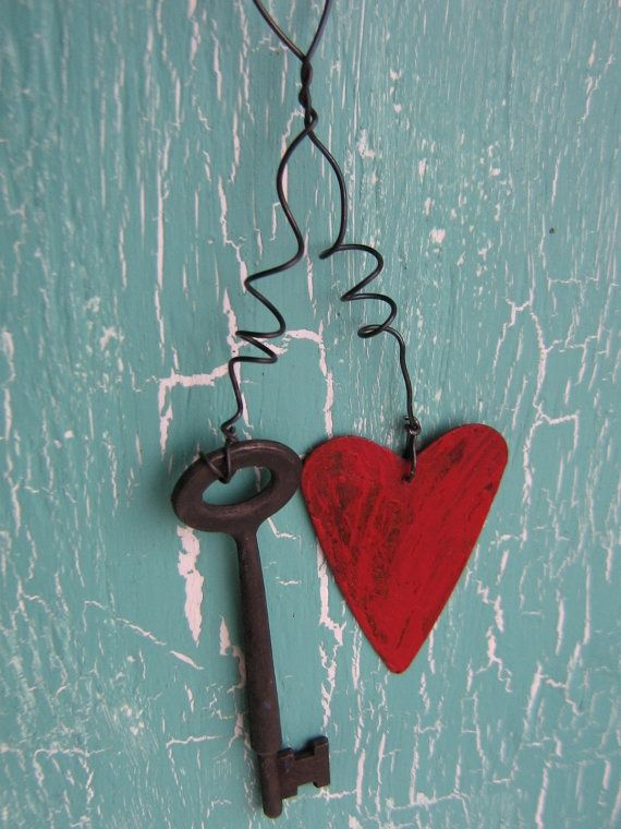 Primitive Valentine Crafts Home Decor Primitive Rusty Metal Key With Valentines Craft