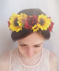 floral crown, sunflower hair accessories, sunflower bridal ...