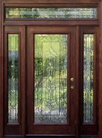 Mahogany Exterior Doors with Sidelights and Transoms 68