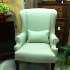 Chairs For Girls Room Multipurpose Gym Chair Re-upholstered Wing Back With Nailhead | Diy Pinterest Mint Green, And Wings