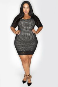 Net Fitted Body Con Dress | Thick Chic Boutique | Plus ...