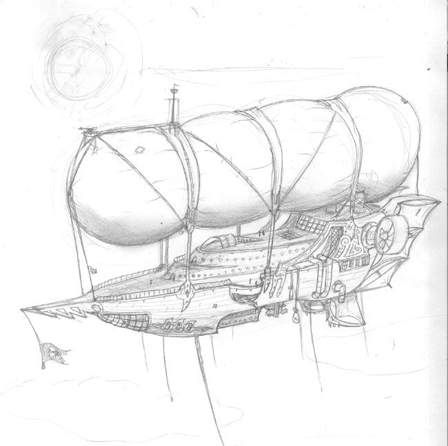 Gnomish airship #pencil #drawing by TRS on #DeviantArt