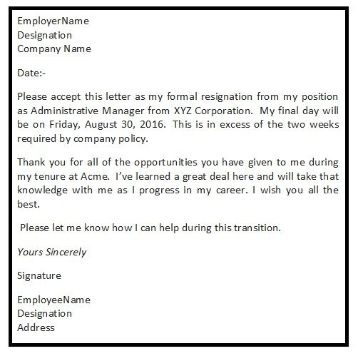 A Well Written Sample Resignation Letter Initiates The Process Of Graceful Exit From An