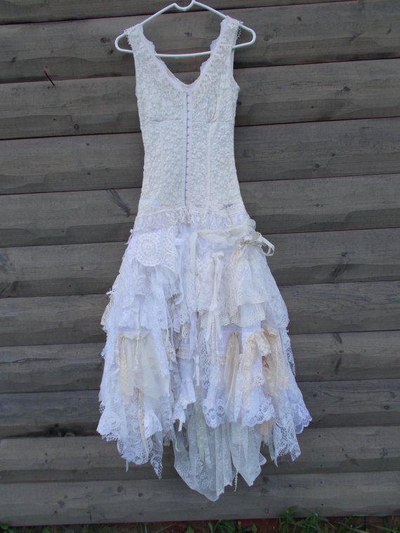 Wedding Dress Rag Doll style skirt Corset front top