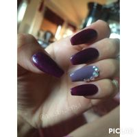 IG nailsby_tonya coffin shape nails with fall plum colors ...