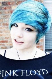 emo blue pixie cut hair