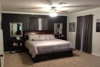 Grey bedroom with black accent wall   new apartment ...